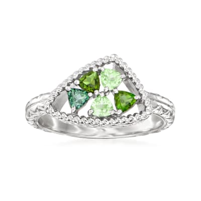 "Andrea Candela ""Mosiaco"" .50 ct. t.w. Tonal Green Tourmaline Ring in Sterling Silver"