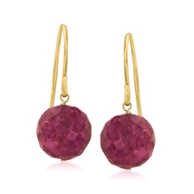 12.00 ct. t.w. Ruby Drop Earrings in 14kt Yellow Gold