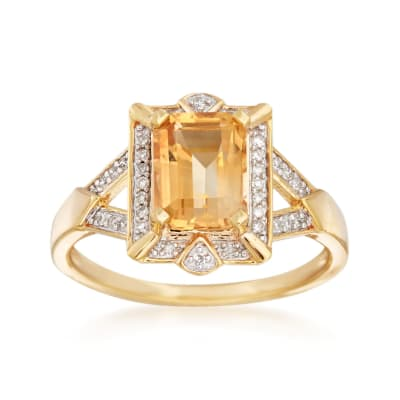 1.40 Carat Citrine and .10 ct. t.w. Diamond Ring in 18kt Gold Over Sterling