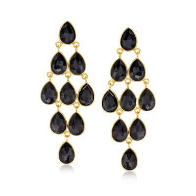 Black Onyx Chandelier Earrings in 18kt Gold Over Sterling