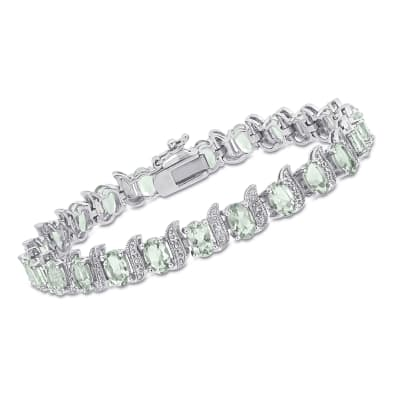 9.60 ct. t.w. Prasiolite Bracelet with Diamond Accents in Sterling Silver