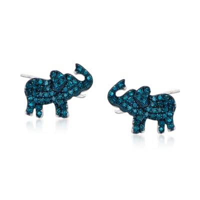 .25 ct. t.w. Blue Diamond Elephant Earrings in Sterling Silver