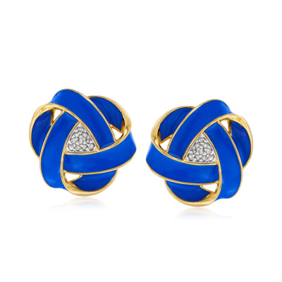 .10 ct. t.w. Diamond and Blue Enamel Love Knot Earrings in 18kt Gold Over Sterling