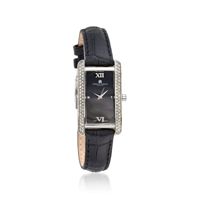 Charles Hubert Women's 30mm Swarovski Crystal Watch with Black Leather Strap