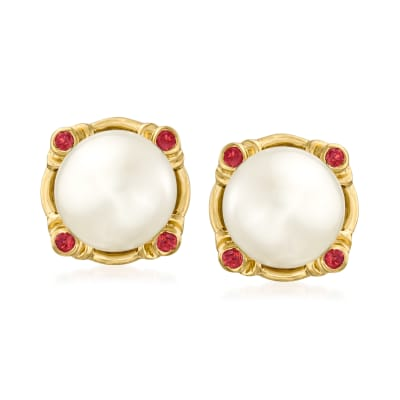 8mm Cultured Pearl and .10 ct. t.w. Ruby Earrings in 18kt Gold Over Sterling