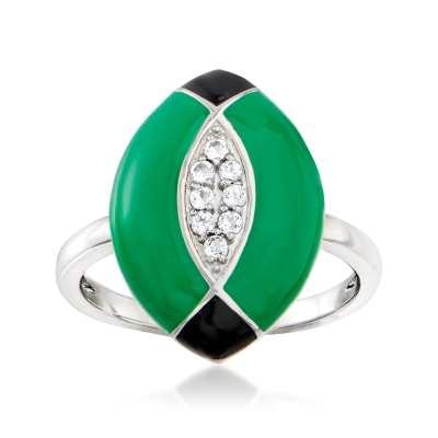 .10 ct. t.w. White Topaz Ring with Black and Green Enamel in Sterling Silver