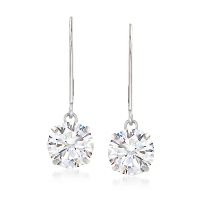 4.00 ct. t.w. CZ Drop Earrings in 14kt White Gold