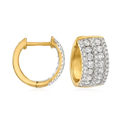 1.00 ct. t.w. Diamond Huggie Hoop Earrings in 14kt Yellow Gold