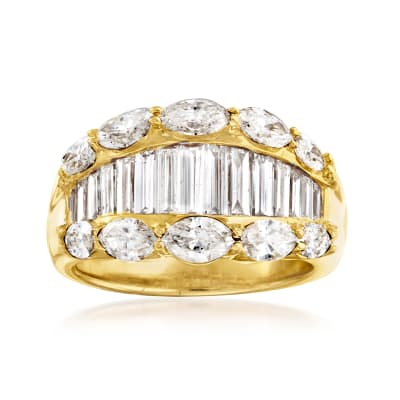 C. 1990 Vintage 3.02 ct. t.w. Baguette and Oval Diamond Ring in 18kt Yellow Gold