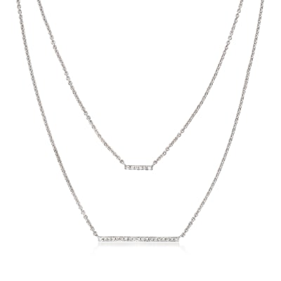 Diamond-Accented Double-Bar Necklace in Sterling Silver