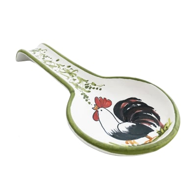 "Abbiamo Tutto ""Rooster"" Ceramic Spoon Rest from Italy"