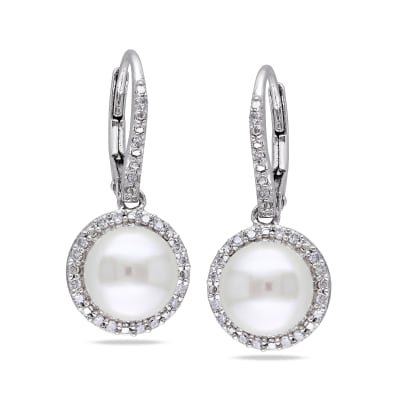 8-8.5mm Cultured Pearl and .19 ct. t.w. Diamond Drop Earrings in Sterling Silver
