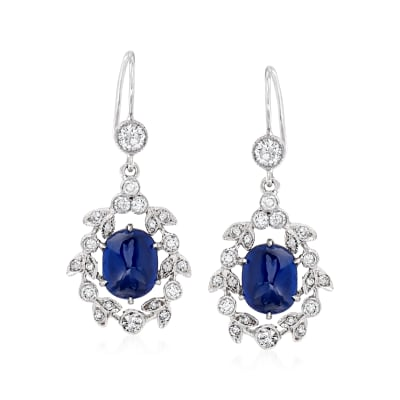 C. 1990 Vintage 3.14 ct. t.w. Sapphire and .70 ct. t.w. Diamond Drop Earrings in 18kt White Gold