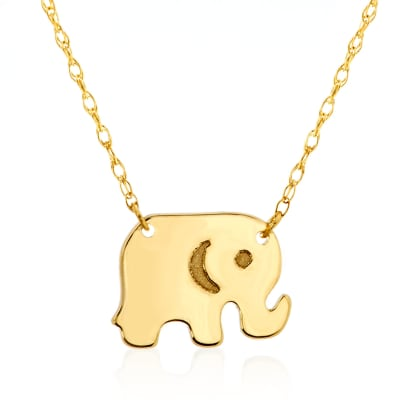 14kt Yellow Gold Baby Elephant Necklace