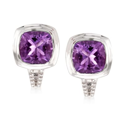 5.75 ct. t.w. Amethyst Post Earrings in Sterling Silver