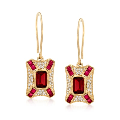 1.50 ct. t.w. Garnet and .80 ct. t.w. Ruby Drop Earrings with .31 ct. t.w. Diamonds in 14kt Yellow Gold
