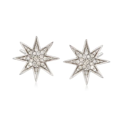 .50 ct. t.w. Diamond Star Earrings in Sterling Silver