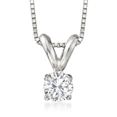 .25 Carat Diamond Solitaire Pendant Necklace in 14kt White Gold
