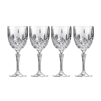 "Marquis by Waterford Crystal ""Markham"" Set of 4 Goblet Glasses from Italy"