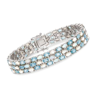 Opal and 12.00 ct. t.w. Blue Topaz Three-Row Bracelet in Sterling Silver