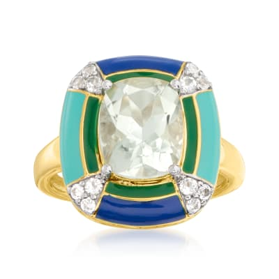 2.60 Carat Prasiolite and .20 ct. t.w. White Topaz Ring in 18kt Gold Over Sterling with Multicolored Enamel