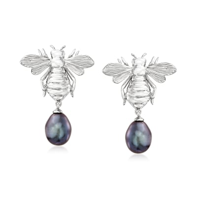 8-8.5mm Black Cultured Pearl Bumblebee Drop Earrings in Sterling Silver