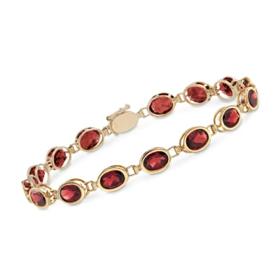 14.00 ct. t.w. Oval Bezel-Set Garnet Bracelet in 14kt Yellow Gold