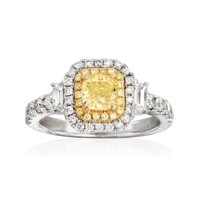 1.69 ct. t.w. Yellow and White Diamond Ring in 18kt White Gold