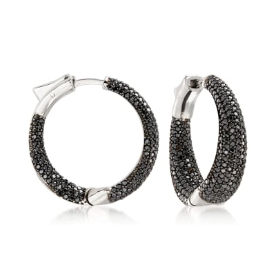 3.00 ct. t.w. Black Spinel Inside-Outside Hoop Earrings in Sterling Silver