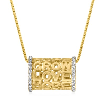 """.25 ct. t.w. Diamond """"Love Hope Grow"""" Cylinder Pendant Necklace in 18kt Gold Over Sterling"""