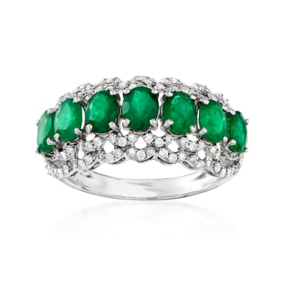 1.90 ct. t.w. Emerald and .43 ct. t.w. Diamond Ring in 18kt White Gold