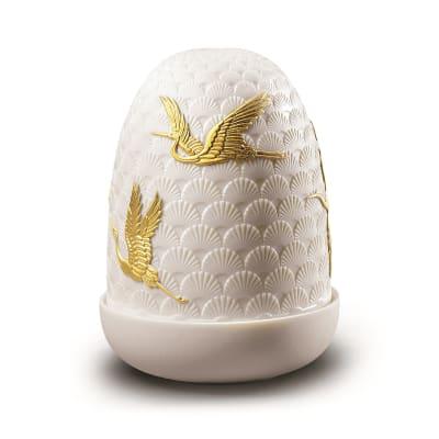 """Lladro """"Cranes"""" Porcelain Dome Lamp"""
