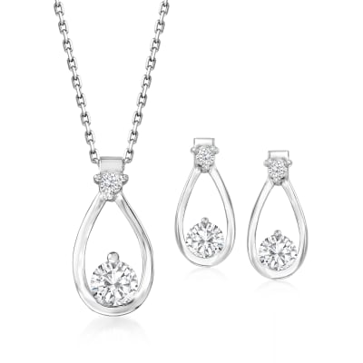 1.40 ct. t.w. CZ Jewelry Set: Pendant Necklace and Drop Earrings in Sterling Silver