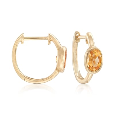 .80 ct. t.w. Bezel-Set Oval Citrine Hoop Earrings in 14kt Yellow Gold