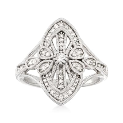 .26 ct. t.w. Diamond Vintage-Inspired Ring in Sterling Silver