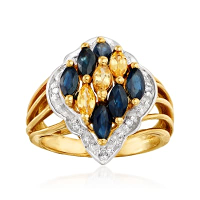 C. 1980 Vintage 1.35 ct. t.w. Blue and Yellow Sapphire Ring with Diamond Accents in 10kt Yellow Gold