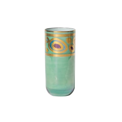 "Vietri ""Regalia"" Aqua Highball Glass"