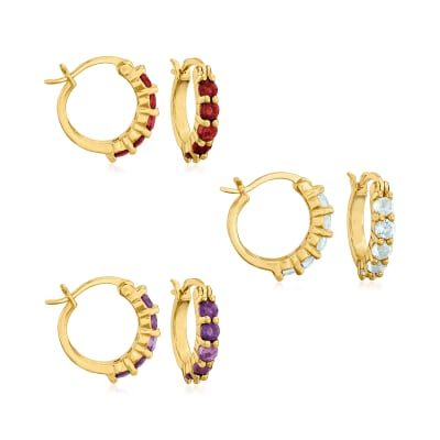 1.60 ct. t.w. Amethyst, Garnet and Blue Topaz Jewelry Set: Three Pairs of Huggie Hoop Earrings in 18kt Gold Over Sterling
