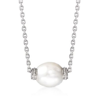 10-10.5mm Cultured Pearl Necklace with Diamond Accents in Sterling Silver