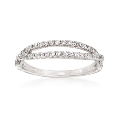 .29 ct. t.w. Diamond Crisscross Wedding Ring in 14kt White Gold
