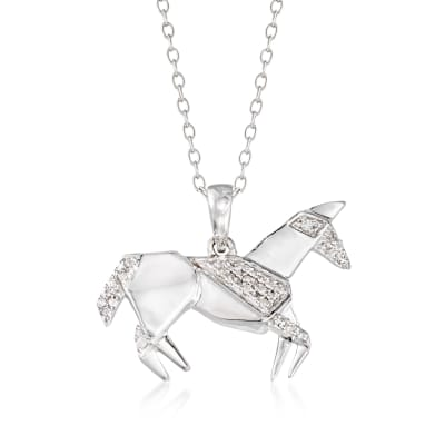 Sterling Silver Horse Pendant Necklace with Diamond Accents