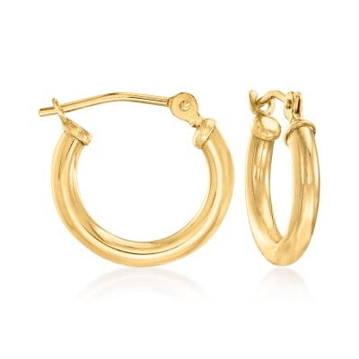 2mm 14kt Yellow Gold Small Hoop Earrings