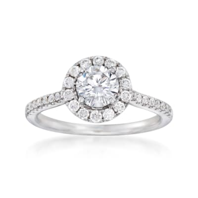 .39 ct. t.w. Diamond Halo Engagement Ring Setting in 14kt White Gold