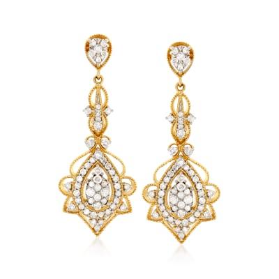 1.00 ct. t.w. Diamond Openwork Drop Earrings in 14kt Yellow Gold