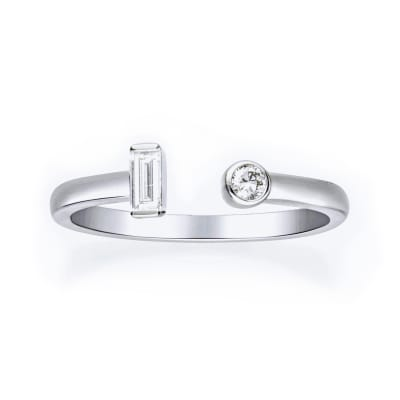 .16 ct. t.w. Baguette and Round Diamond Open-Space Ring in 14kt White Gold
