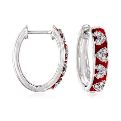 .25 ct. t.w. Diamond and Red Enamel Heart Hoop Earrings in Sterling Silver