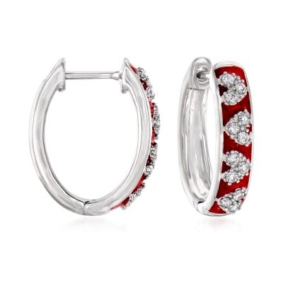 .25 ct. t.w. Diamond and Red Enamel Heart Hoop Earrings in Sterling Silver