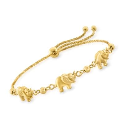 14kt Yellow Gold Elephant Bolo Bracelet