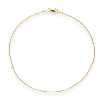 14kt Yellow Gold Wheat Chain Anklet