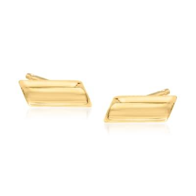 14kt Yellow Gold Slanted Bar Stud Earrings